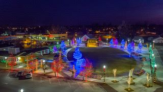 Aerial Photo of Christmas Lights at Charley Young Park in Downtown Bixby