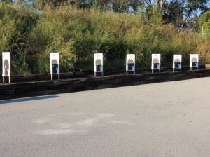 Firearm Training Targets Lined Up For Target Practice